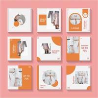 ensemble de modèles de médias sociaux orange et blanc