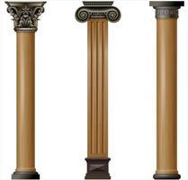 ensemble de colonnes en bois classiques avec des détails métalliques