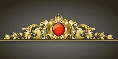ornement classique en or avec bijou rouge vecteur