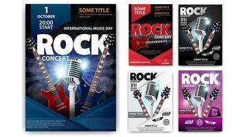 affiche de concert de rock dans différentes couleurs vecteur