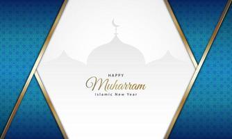 motif bleu nouvel an islamique avec la silhouette de la mosquée vecteur