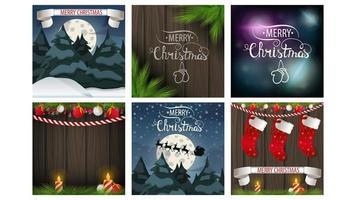 ensemble de cartes de joyeux Noël carré vecteur