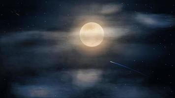 ciel étoilé bleu avec grosse pleine lune dans les nuages