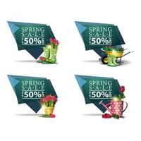 bannières géométriques de vente de printemps avec des fleurs