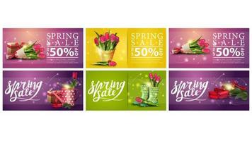 bannières de vente de printemps rougeoyant floral coloré