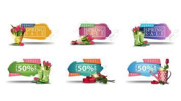 bannières de vente de printemps avec des bords déchiquetés et des fleurs vecteur