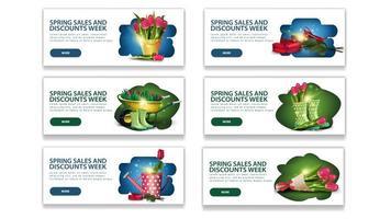 bannières de réduction de semaine de vente de printemps avec boutons