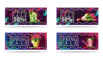 bannières de vente de printemps avec des fleurs et des lumières colorées