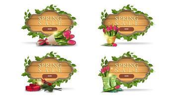 vente de printemps bannières cadre en bois avec des feuilles