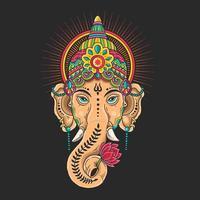 mascotte de tête de ganesha colorée