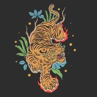 conception de tatouage de tigre vecteur