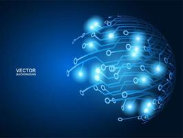conception de cercle de circuit bleu brillant haute technologie