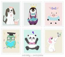dessins animés mignons d'animaux dans des cadres