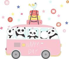 pandas mignons voyageant en vacances