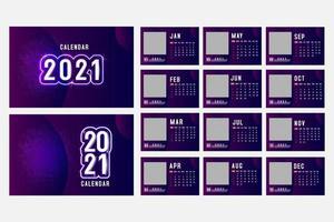 Calendrier 2021 horizontal violet avec espace d'image carré