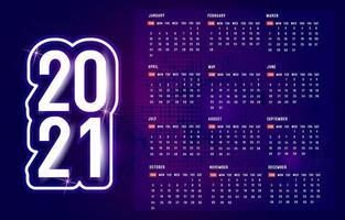 Calendrier violet 2021 avec motif à pois vecteur