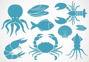 Vector d'icônes de fruits de mer gratuits