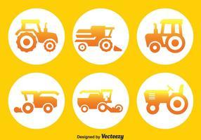 Tracteurs cercle des icônes vecteur
