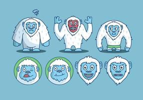 Pack de vecteurs d'émotion de caractère Yeti vecteur