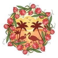 conception de cadre fleur flamant d'été