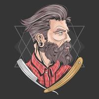 homme barbier avec de bons cheveux et barbe vecteur