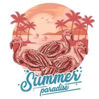 affiche du paradis flamant rose vecteur