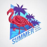 conception d'affiche de fête d'été flamingo vecteur