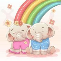 mignon, éléphant, couple, amoureux, arc-en-ciel