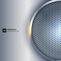 Cadre abstrait cercle argent métallique sur fond gris chrome