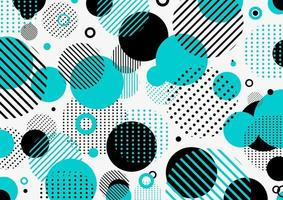 motif rétro abstrait des années 80 et 90 cercles géométriques bleus et noirs vecteur