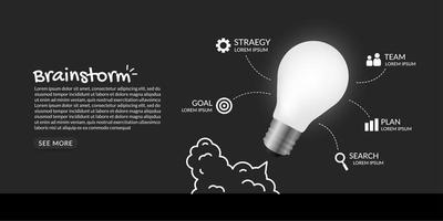 icônes d'affaires autour de l'ampoule se lançant dans l'espace