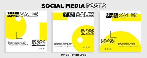 modèles de vente de médias sociaux géométriques blancs et jaunes vecteur