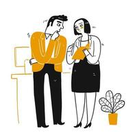 collègues d'affaires dessinés à la main, parler des affaires vecteur