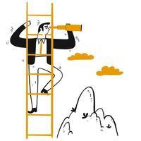 chef d'entreprise avec télescope escalade échelle
