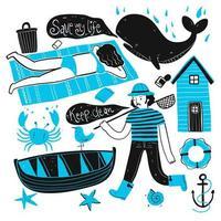 pêcheur dessiné à la main et ensemble touristique