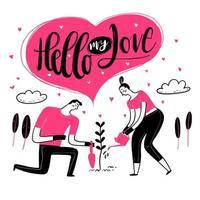 couple dessiné à la main dans l'amour arroser la plante