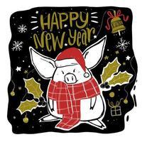 cochon avec foulard et chapeau et vacances doodle elements