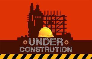 en construction signe avec bâtiment silhouette et un casque vecteur