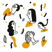 visages dessinés à la main des femmes vecteur