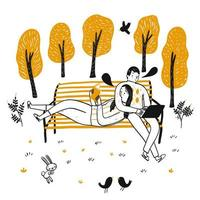 Couple dessiné à la main, lecture sur un banc dans le parc vecteur