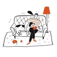 homme dessiné à la main et chien sur canapé vecteur
