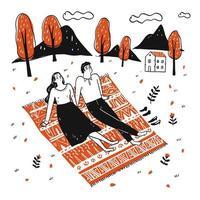 couple dessiné à la main se détendre dans le jardin vecteur