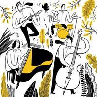 groupe de musiciens dessinés à la main vecteur