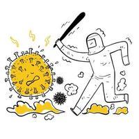 homme dessiné à la main chassant le virus vecteur
