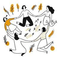 les femmes dessinées à la main se tiennent la main dans un cercle