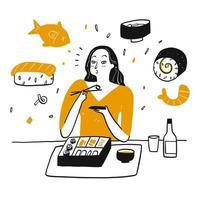 femme dessinée à la main, manger des sushis avec bonheur