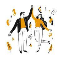 couple heureux dessiné à la main dansant vecteur