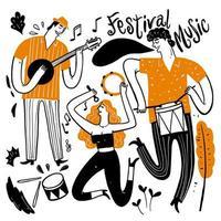 musiciens dessinés à la main jouent de la guitare, chantent, battent des tambours vecteur