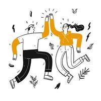 couple de danse dessiné à la main high fives