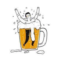 homme heureux dessiné à la main dans un verre de bière